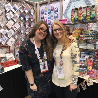 Courtney with her first quilting teacher